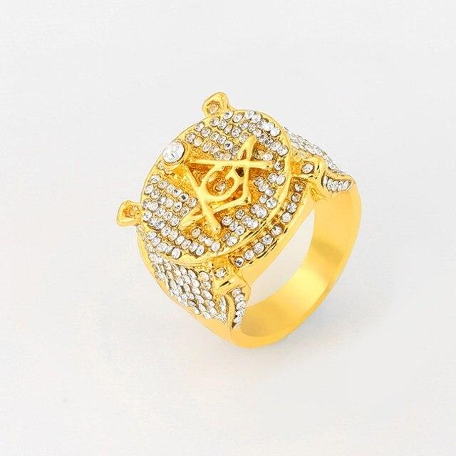 Conjunto de reloj de lujo para hombre, pulsera y collar, anillo, Color dorado, Hip Hop, cristal, hielo, collar de cadena cubana 6