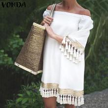 2021 VONDA Summer Sundress Women Sexy Off Shoulder Party Dress Female Vintage Mini Dress Holiday Casual Plus Size Vestidos 5XL