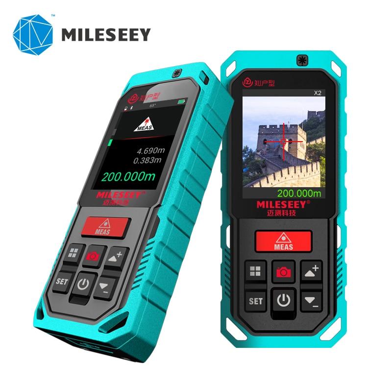 Mileseey medidor distanc laser ao ar livre profissional medidor de laser bluetooth rangefinder 200m fita a laser medida com câmera
