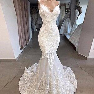 White Mermaid Wedding Dresses 2020 Vestidos De Novia Backless Sexy Lace Bride Dress Beaded Appliques Sweetheart Plus Size Straps