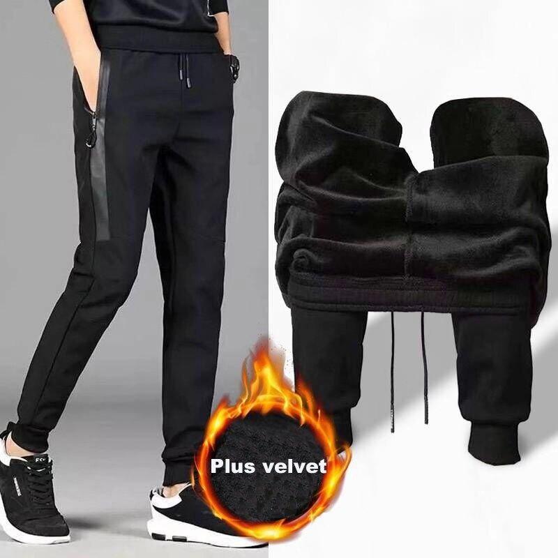 2020 new Men Pants winter casual full length Plus velvet Men Elastic Straight Trousers Size M-5XL