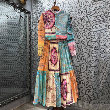 SEQINYY Vintage Suit Pink Green Print Playground Summer Spring New Fashion Design Women Long Shirt + Long Skirt 100% Cotton seqinyy 100% coton skirt 2020 summer spring new fashion design runway high quality sicily catus flowers print green skirt