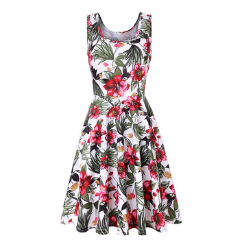 Plus size women sleeveless o-neck print dress casual sweet vintage floral A-line party 2019 summer beach vestidos