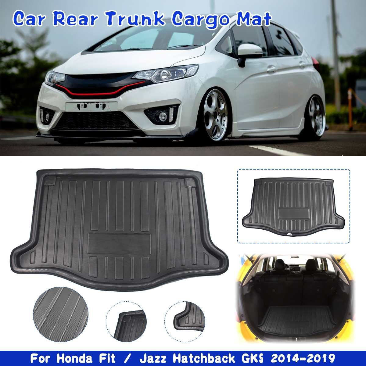 ZYHW Black Auto Cargo Liner Boot Rear Trunk Mat Tray Floor Mat Cover Protector for Honda Fit Jazz 2009-2013