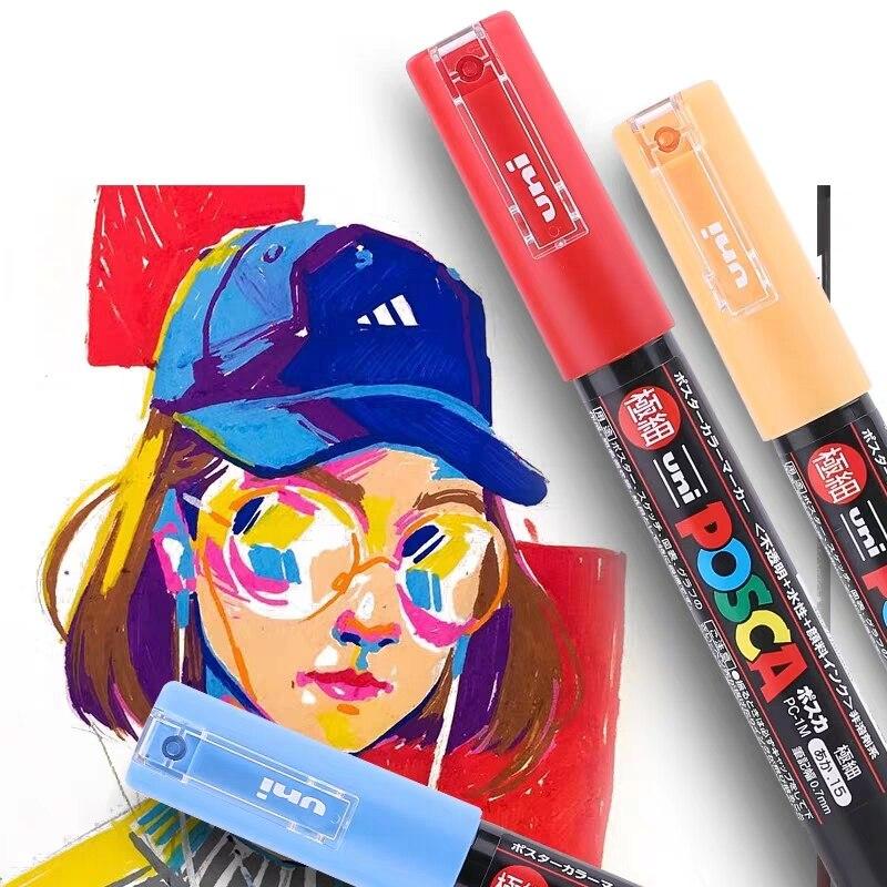 1 Pc Of Uni Posca PC-1M Paint Marker Art Pensi Poster Pastel Color Marking Professional Extra Fine Bullet Tip 0.7mm  21 Colors