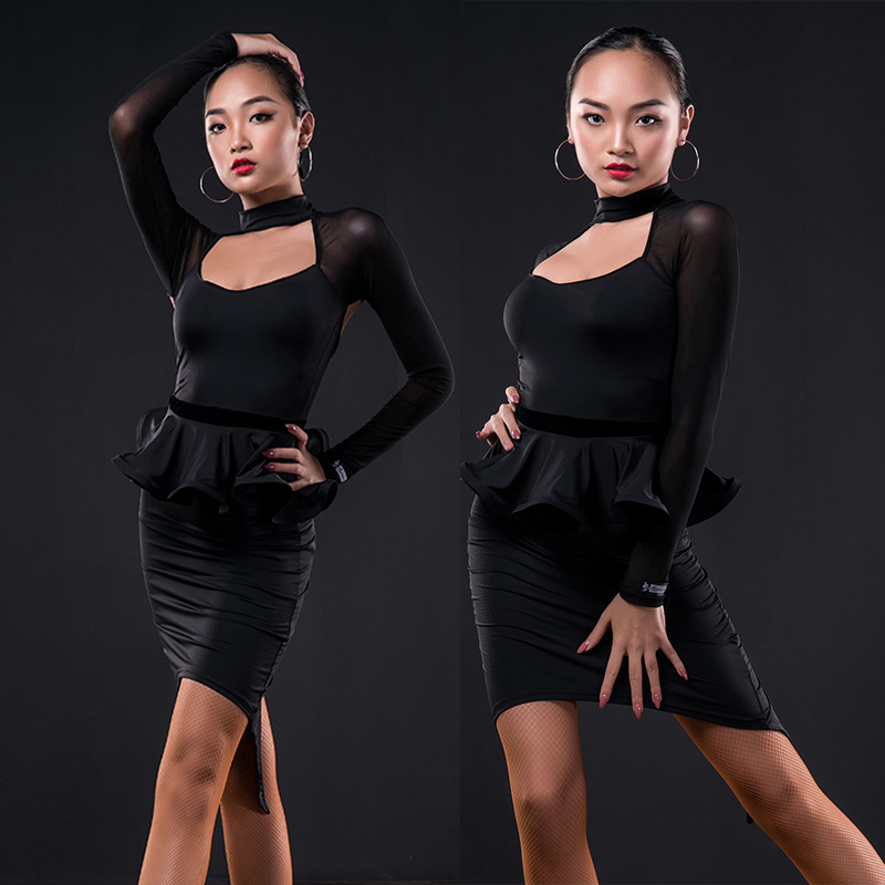 Latin Dance Dress Sexy Black Long Sleeve Lotus Skirt Tango Cha Cha Samba Rumba Performance Latin Competition Dresses