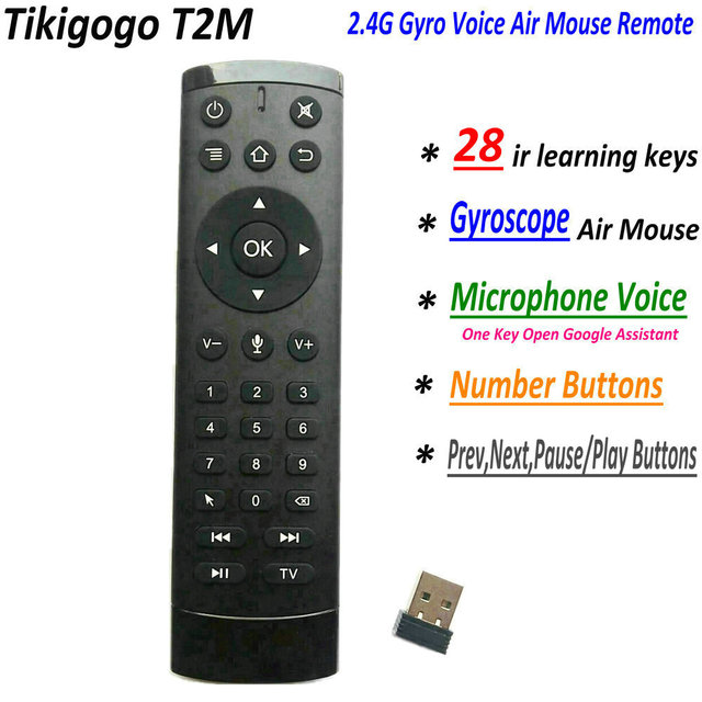 T2M 2.4G Gyro Air Mouse 28 IR Learning Google Voice Search for Android Smart TV Box PK T1M G10s G20s G30s G50s Remote Control