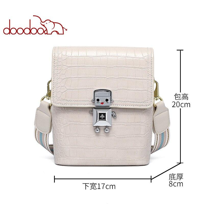 DOODOO Female 2020 New Spring And Spring Summer Wild Fashion Bucket Bag Shoulder Messenger Bag Crocodile Pattern Female Bag