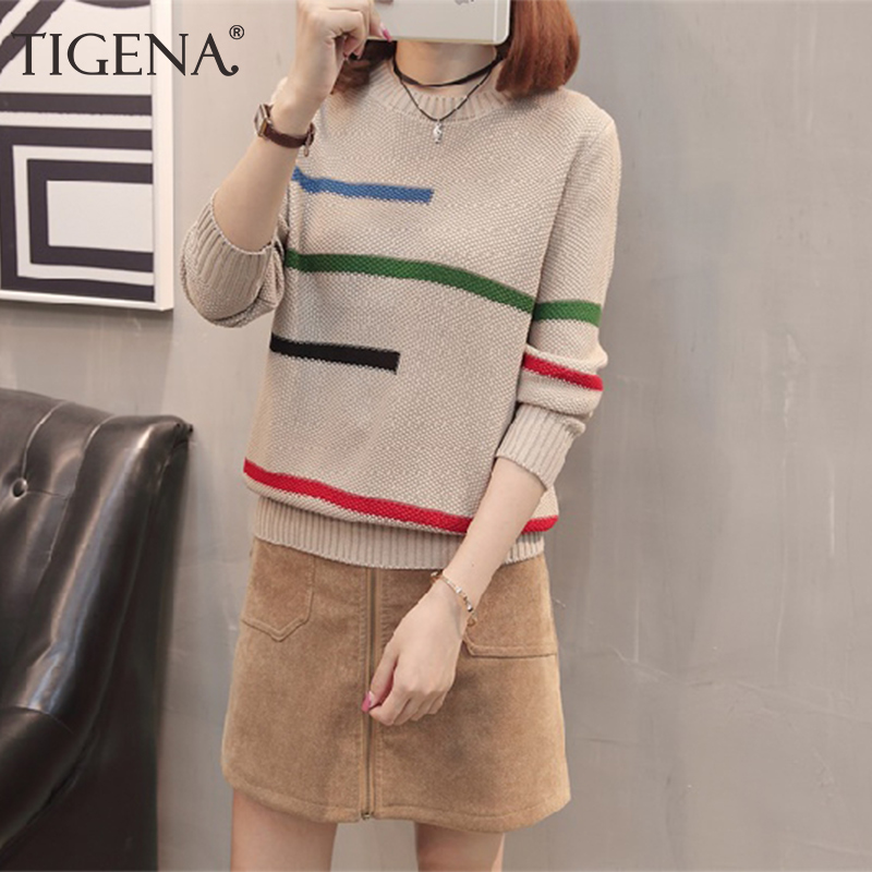 TIGENA 2019 Autumn Winter Pullover Sweater Women Jumper Korean Beautiful Color Striped Long Sleeve Knitted Sweater Female Khaki