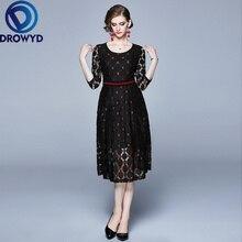 Vintage Lace O-neck Midi Dress for Women Autumn Casual Boho Elegant High Waist Holiday Club Party Dresses Vestidos