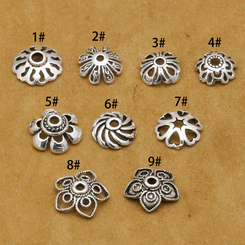 100% 925 Sterling Silver DIY Jewelry Accessories Separate Spacer Bead Cap For Jewelry Making S925 Jewelry Findings&Components