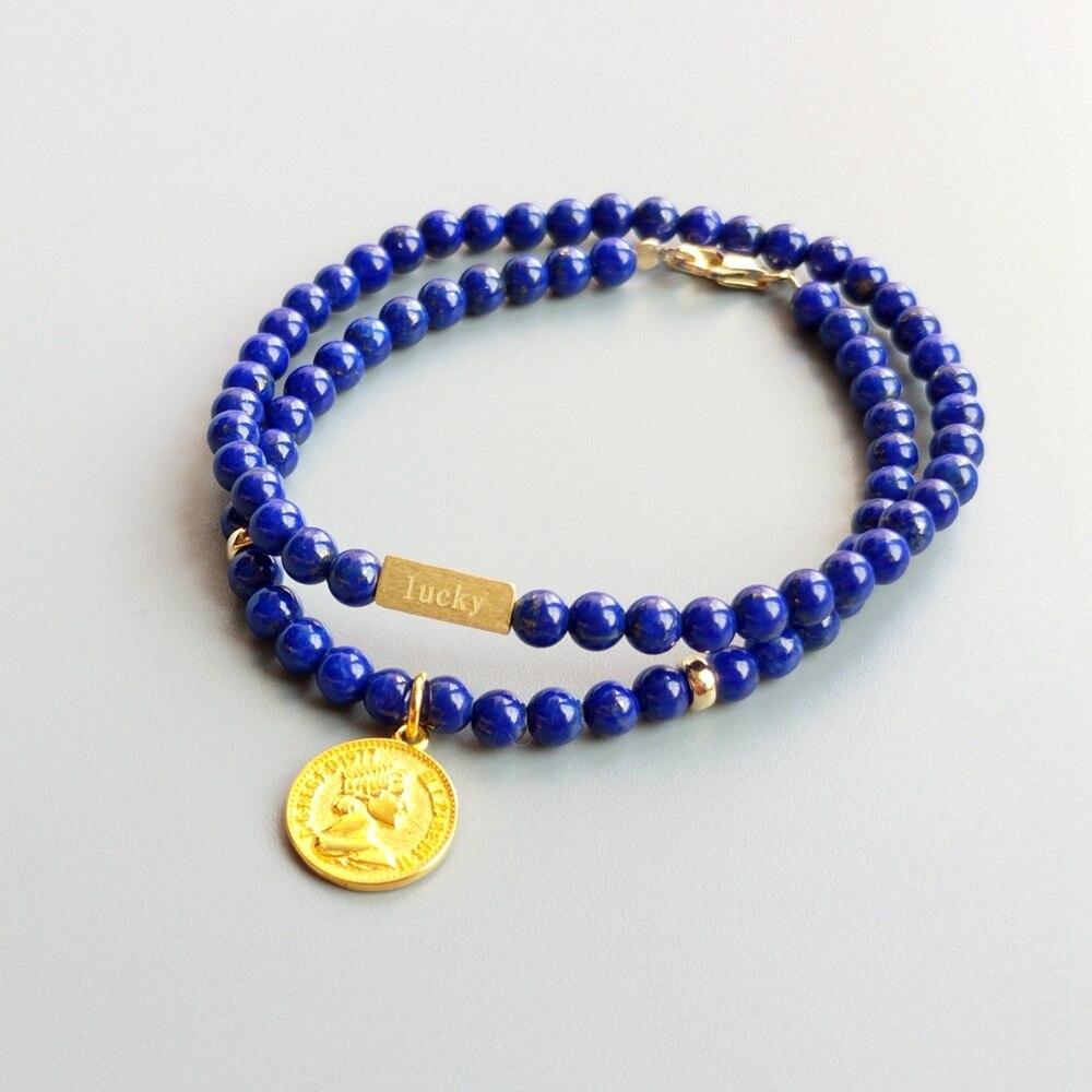 LiiJi уникальная Подлинная ляпис лазурь 4 мм бусины с S925 стерлингового серебра золотого цвета монета Шарм или счастливый треугольный браслет