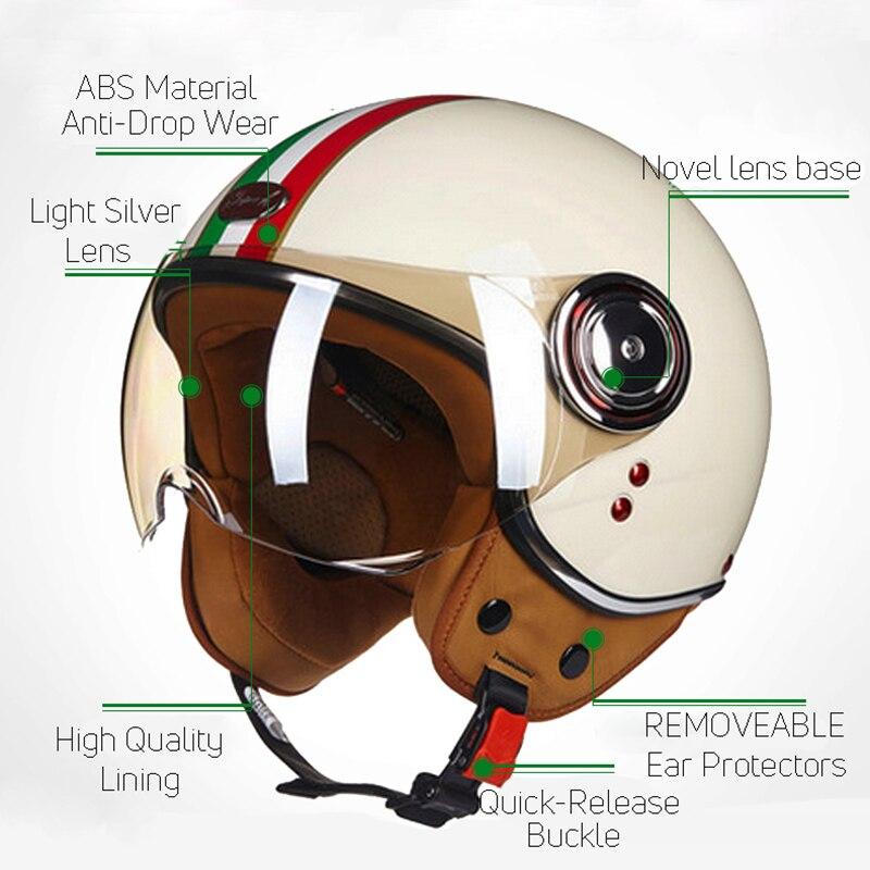 BEON мотоциклетные Ретро шлемы 3/4, винтажные шлемы чоппер с открытым лицом, мотоциклетный шлем Casco Capacete для мужчин и женщин, мотоциклетный шлем...