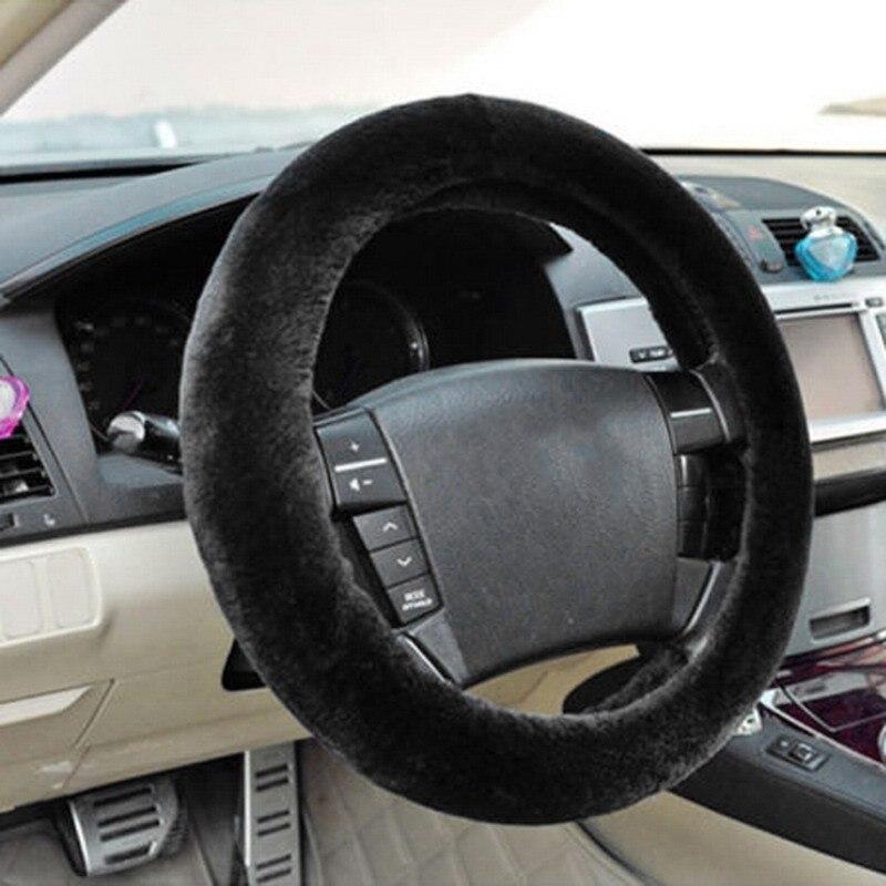 New Winter Black Charm Warm Long Wool Plush Car Steering Wheel Covers woolen Car Universal Interior Accessory