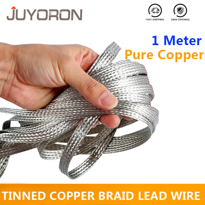 "Tubular Braided Shield Tinned Copper Wire 1//4/"" Wide Ground Strap USA 500/' FT"