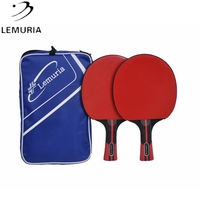 Lemuria 2Pcs Table Tennis Racket Set Double Face Pimples-in Rubber Light weight Ping Pong Paddle Bat for new plays training