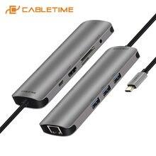 Usb концентратор cabletime с usb 30 hdmi адаптер aux lan сетевой