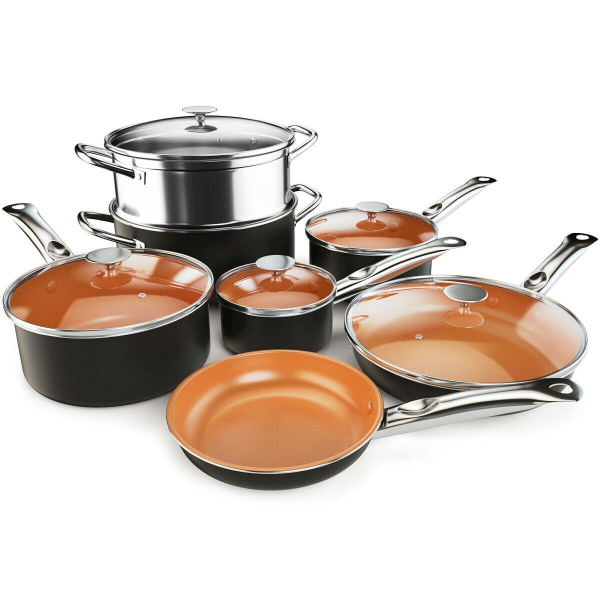 12 Piece Nonstick Cookware Set Copper Pots & Pans Set Dishwasher Safe Oven Safe 1