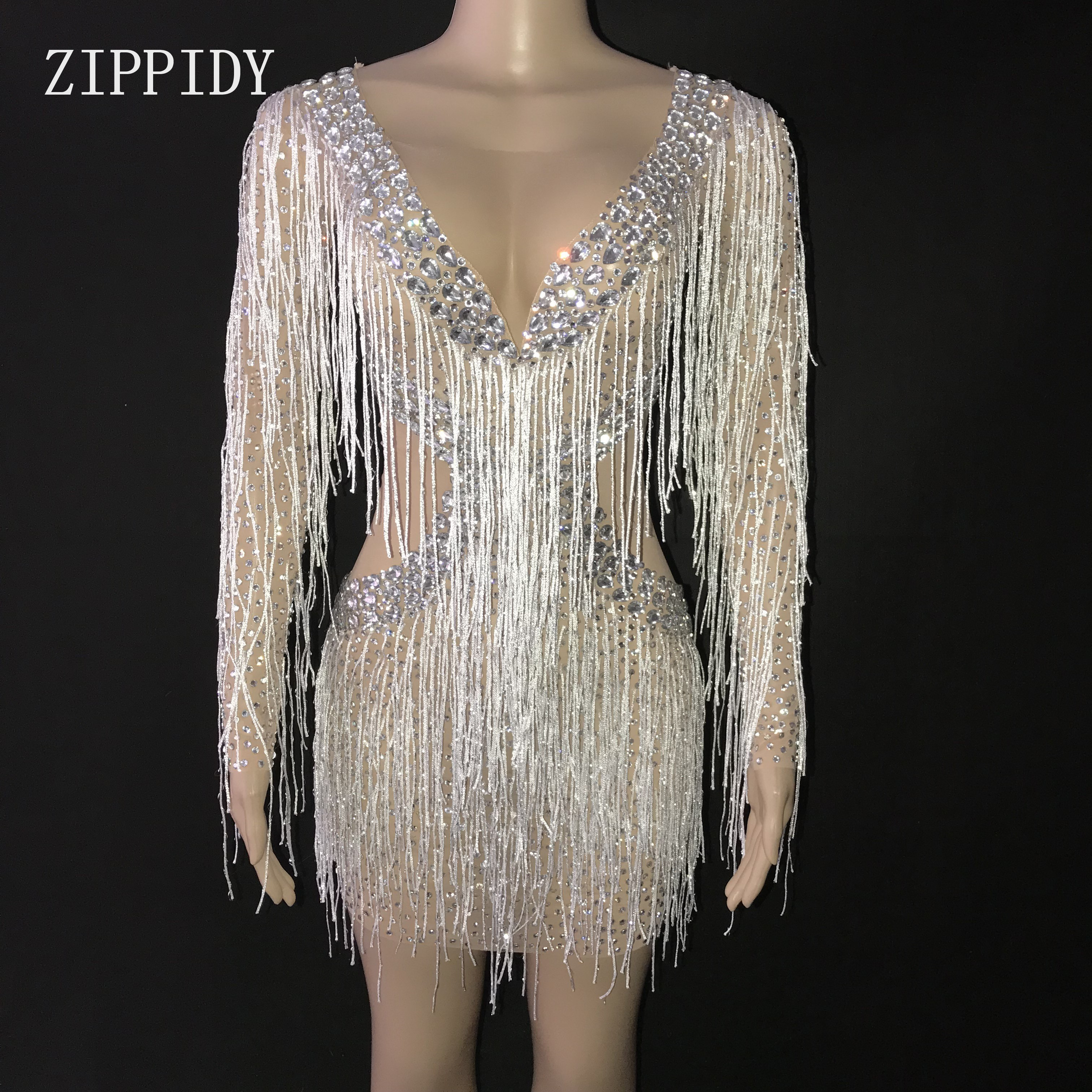 Sparkly Silver Rhinestones White Fringes Mesh Dress See Through Dance Outfit Women Birthday Celebrate Outfit Tassels Dress
