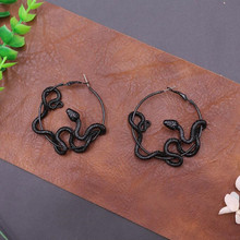 Fashion Exaggerated Vintage Dragon Snake Hoop Earrings For W