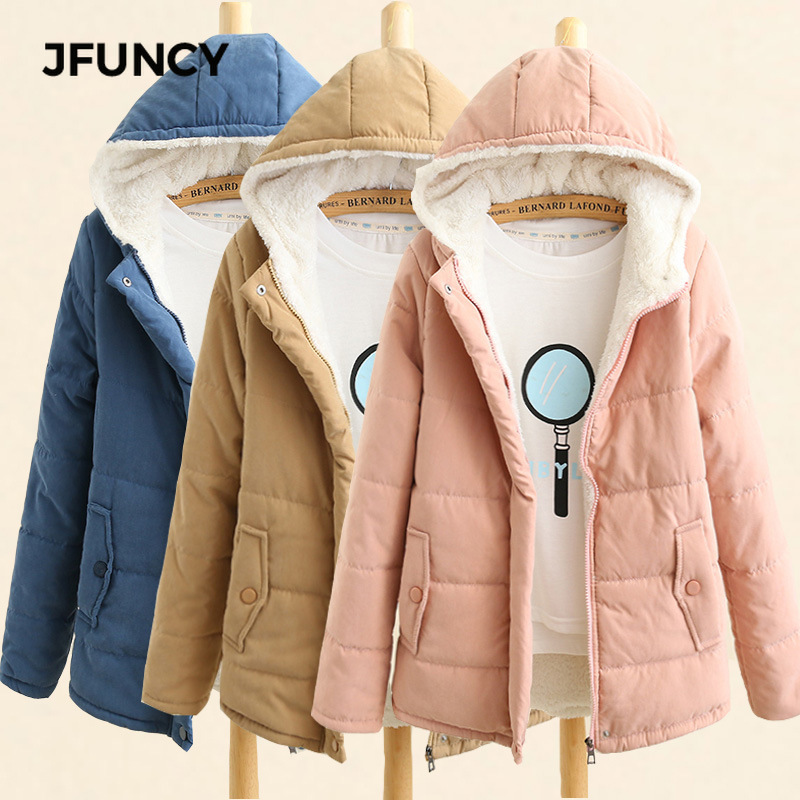 JFUNCY Women Winter Fleece Parkas Coat New Korean Casual Jackets Cotton Hooded Windproof Warm Pink Khaki Velvet Coat For Women