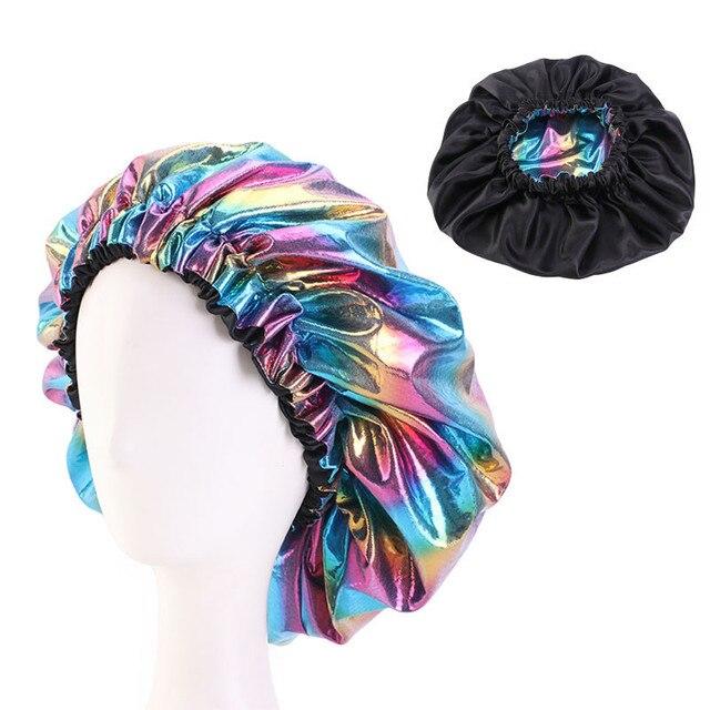 Фото двухслойная шелковая шапочка большого размера для женщин головной цена