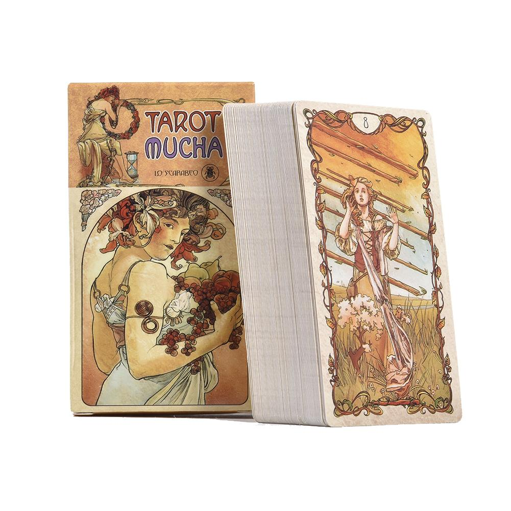 New 78Pcs English Tarot Mucha Tarot Cards Deck Funny Family Board Game Playing Game Cards Party Games