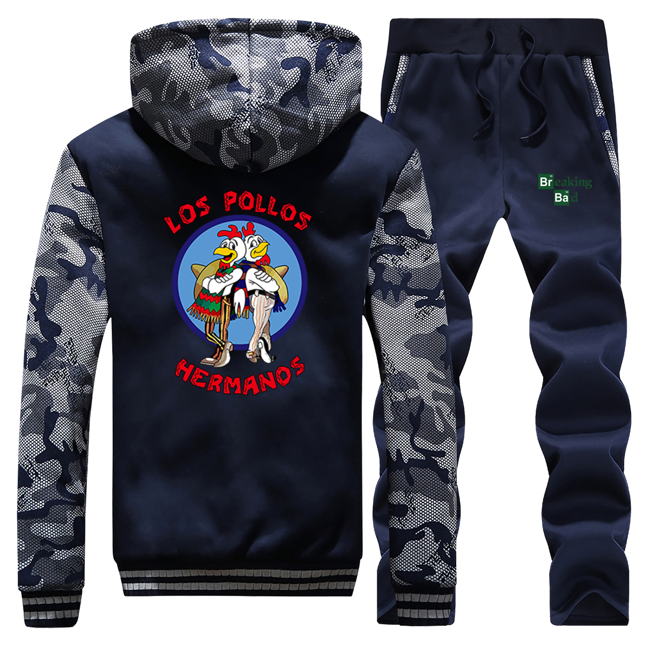 Funny Breaking Bad Los Pollos Hermanos Chicken Brothers Camo Sweatshirt Hoodies Pants Sets Men Casual Sportswear Streetwear