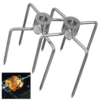 New 2Pcs/Set Rotisserie BBQ Forks Stainless Steel Spit Fork Outdoor Chicken Charcoal Grill Parts Barbecue BBQ Accessories Tools