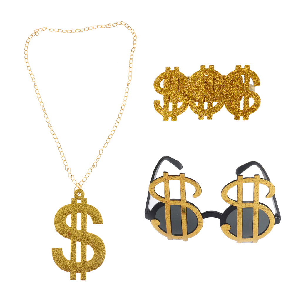 3 Pieces Glitter US Dollar Signs Ring Necklace Glasses 80s Rapper Big Daddy