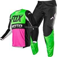 Naughty FOX MX 180 Fyce MX Offroad Dirt Bike ATV Jersey Pant Combo Multi/Pink/Green Adult Cycling Gear Motocross Suit
