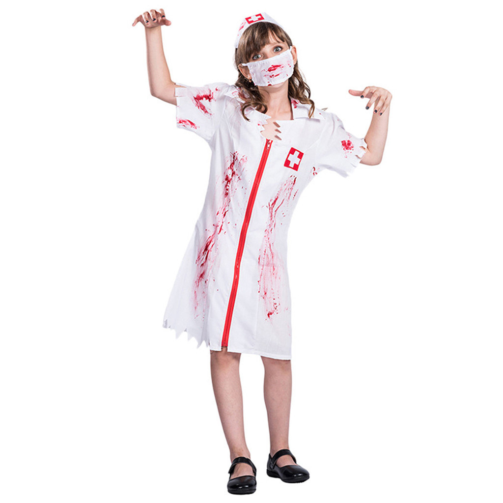 White Cosplay Clothes Props Dress Adult Halloween Stage Costume Zombies Nurse Expression Cosplay Clothes Props 2019 vestidos#G1