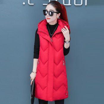 цена на 2019 Women Winter Vest Waistcoat New Solid Women Long Vest Sleeveless Jacket Hooded Down Cotton Warm Vest Female