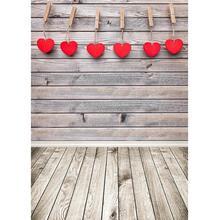 발렌타인 데이 사진 배경 나무 벽 바닥 심장 비닐 배경 어린이를위한 사진 스튜디오 아기 애완 동물 Photoshooting