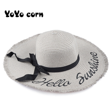 YOYOCORN Handmade Weave letter Sun Hats For Women Black Ribbon Lace Up Large Brim Straw Hat Outdoor Beach hat Summer Caps