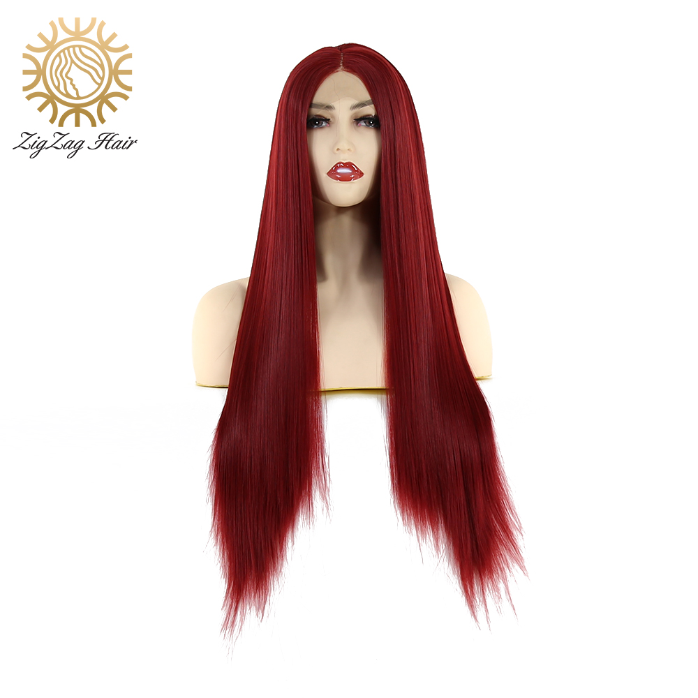ZigZag Wine Red Wig Straight Long Synthetic Lace Front Wig For Black Women 99J Glueless Heat Resistant Fiber Hair Daily Wearing