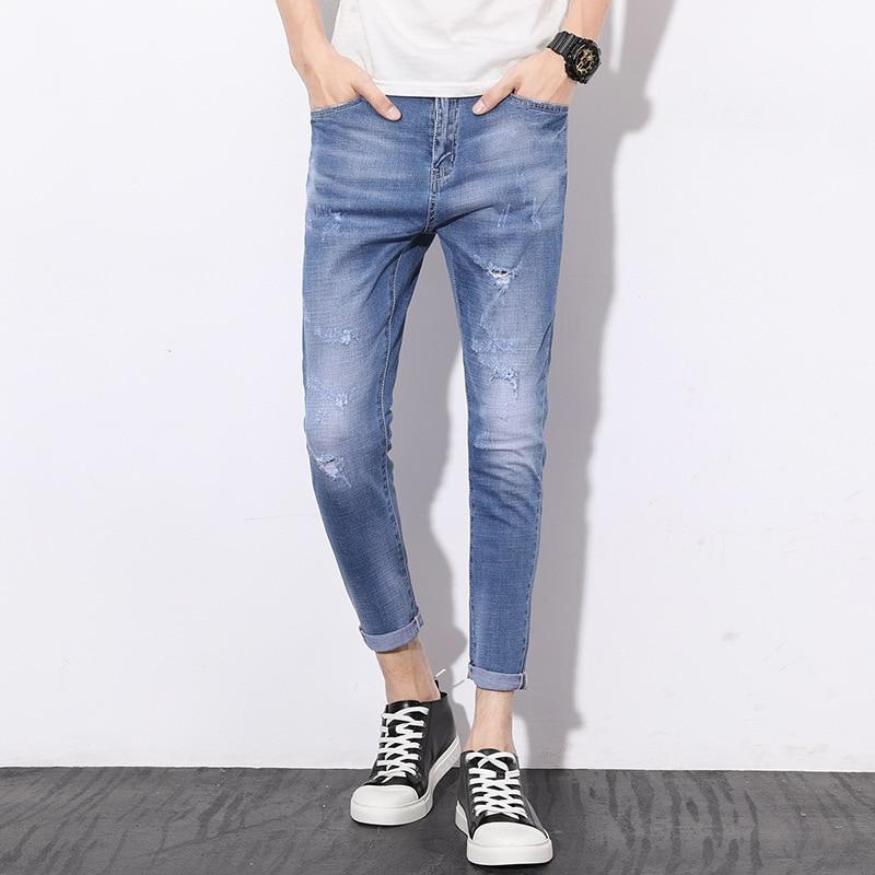 With Holes Capri Pants Men's Spring And Summer New Style Trend Versatile Fashion Men'S Wear Elasticity Slim Fit Korean-style Jea