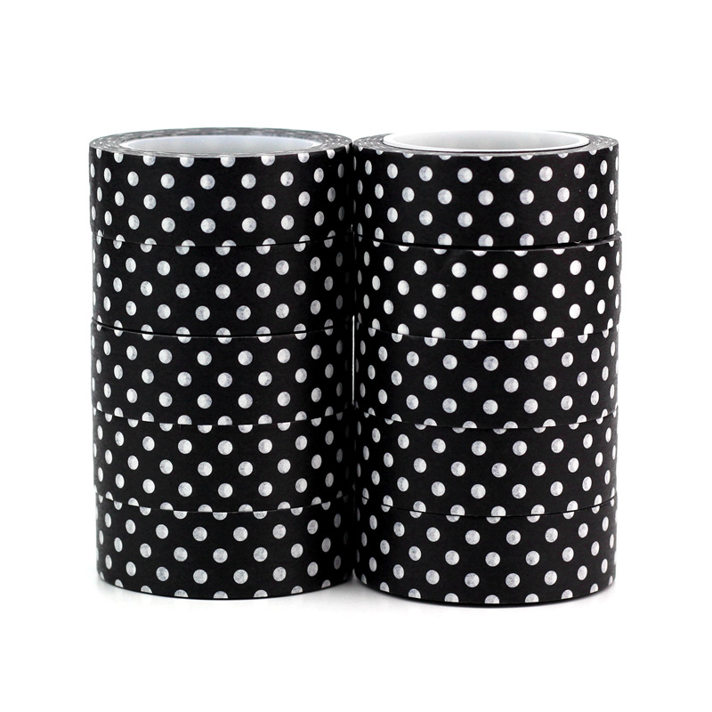 High Quality 10pcs/lot Cute Black And White Dots Washi Tapes DIY Decor Scrapbook Planner Adhesive Masking Tapes School Supply