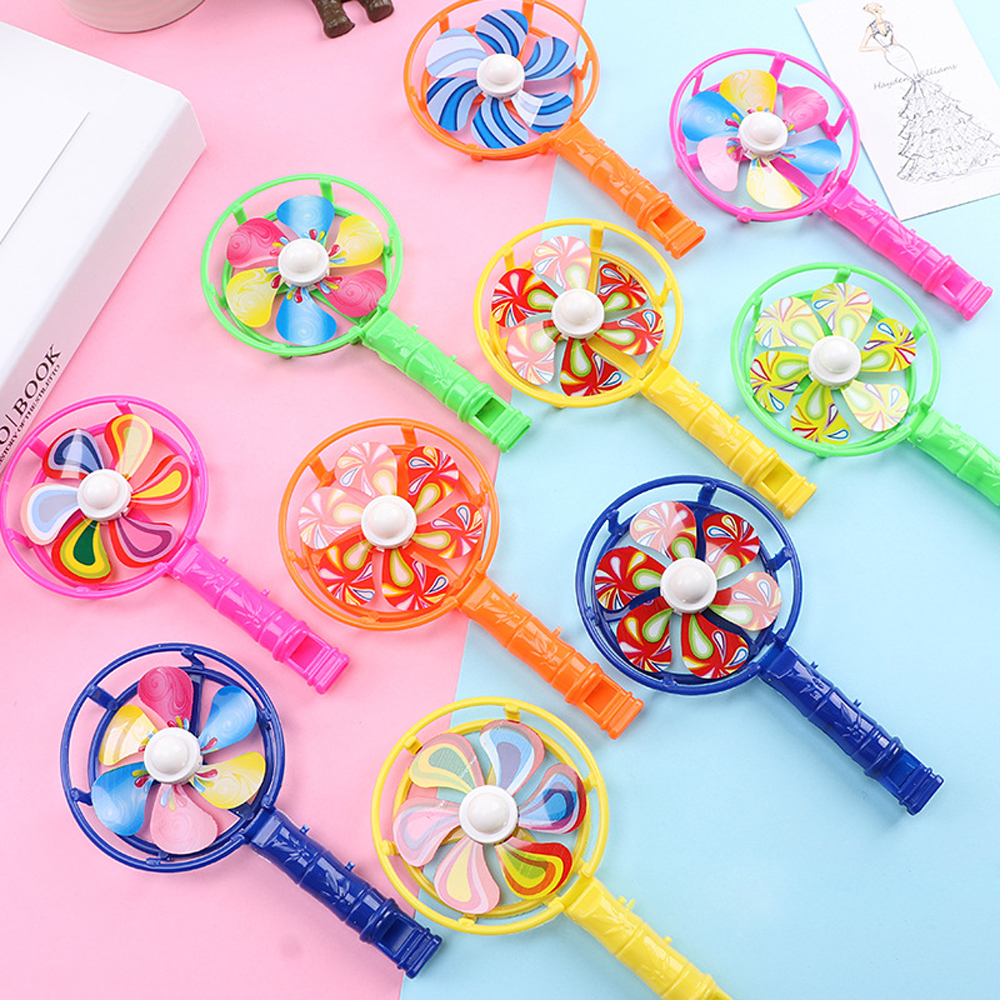 Colorful Windmill Kids Party Toys Outdoor Play Game Classic Plastic Whistles Birthday Party Toys Children Gift