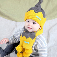 Новая детская зимняя теплая шапка и шарф, детская шляпа в стиле пэтчворк, комплект из 2 предметов, детская шапка, закрывающая уши с помпонами, шарфы для девочек и мальчиков