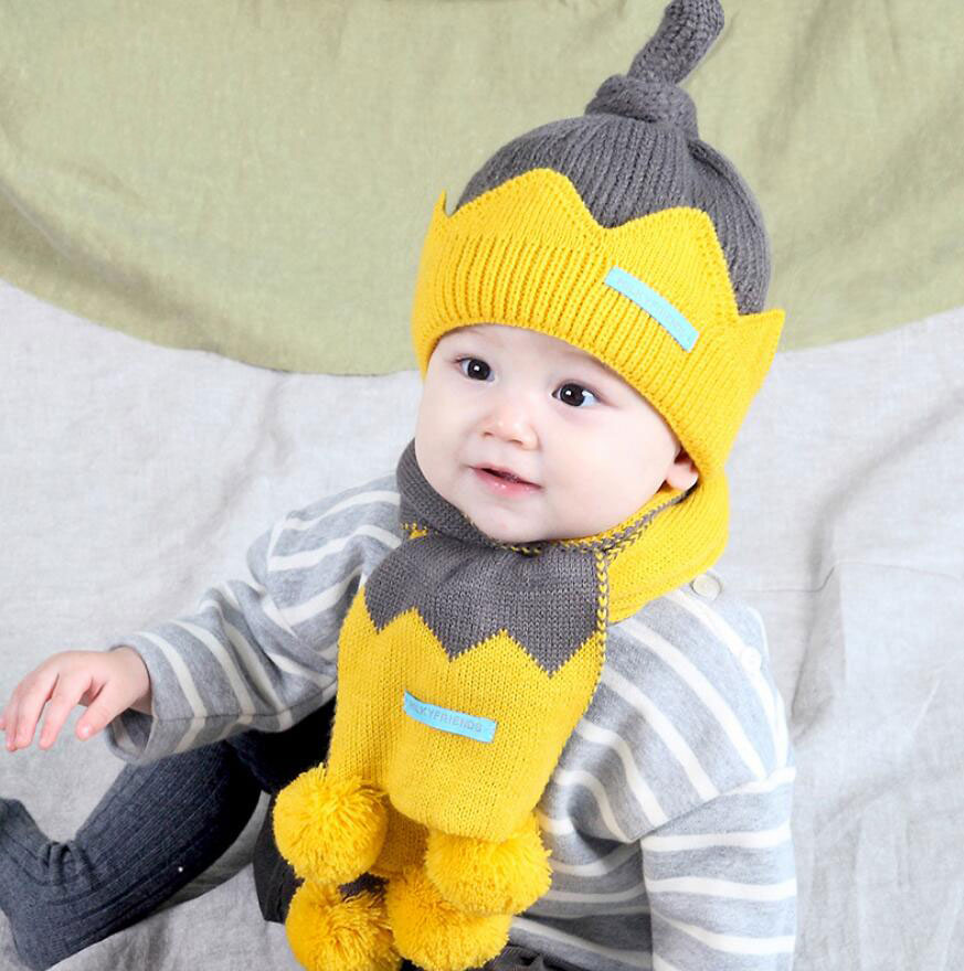 2019 New Kids Winter Warm Hat And Scarf Child Patchwork Hat 2 Piece Set Baby Ear Protection Cap With Pom Pom Scarves Girl Boy