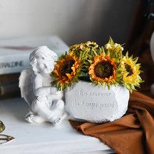 Ангел скульптура цветочный горшок Белое золото милый Амур ваза