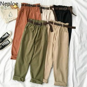 Neploe Female Trousers Pantalon Leg-Pants Sashes Spring Loose Korean-Style Autumn High-Waist