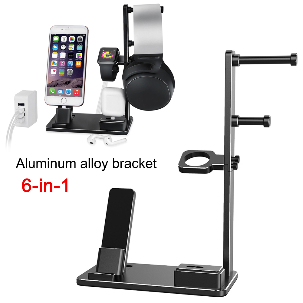 6 In 1 Aluminum Alloy Charge Stand Bracket Headset Holder for Apple Watch AirPods iPad OD889