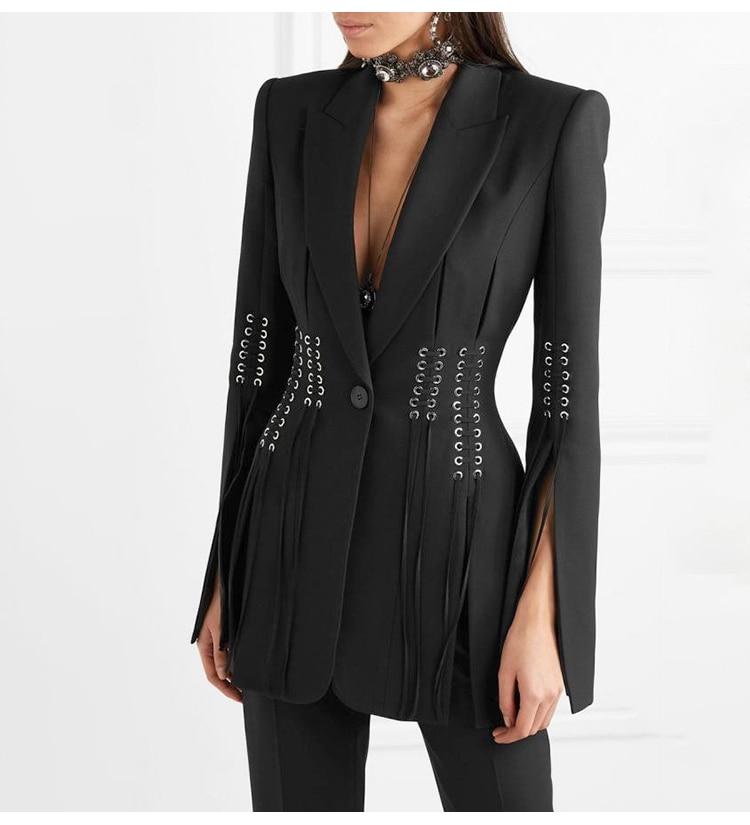 SHTONGHUAWomen's Suit Solid V Neck Long Sleeves cross bandage Blazer Tops High Waist Wide-legged pants Two Piece Set Female 2019 22