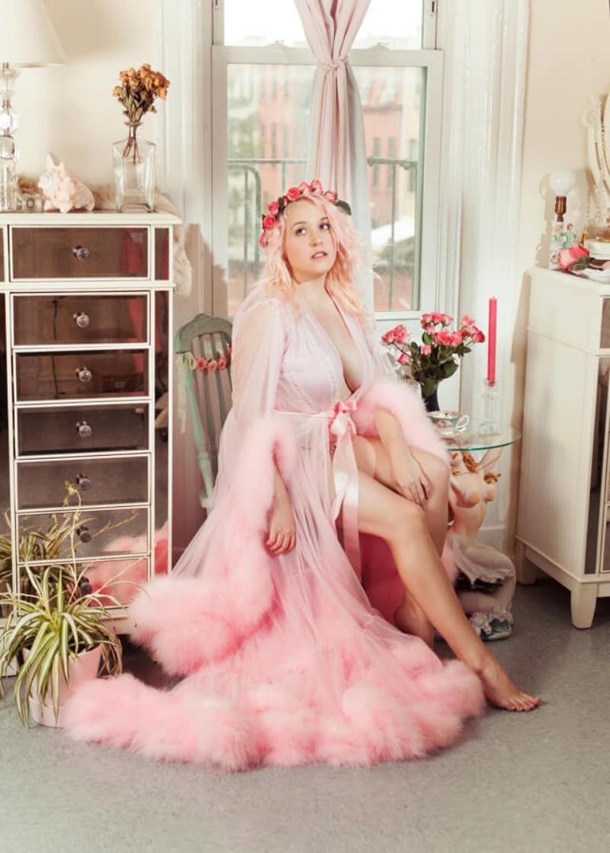 Pink Feather Bathrobe For Women Full Length Lingerie Nightgown Pajamas Sleepwear Women's Luxury Gowns Housecoat Nightwear