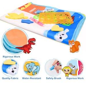 Image 5 - 110x78cm büyük boy boyama su çizim matı boyama yazı Mat Doodle sihirli kalem ile çocuklar için eğitici oyuncaklar halı hediye