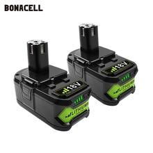 Bonacell 18V 4000mAh Li Ion P108 P 108 Batteria Ricaricabile Per Ryobi Batteria RB18L40 P2000 P310 per BIW180 L30