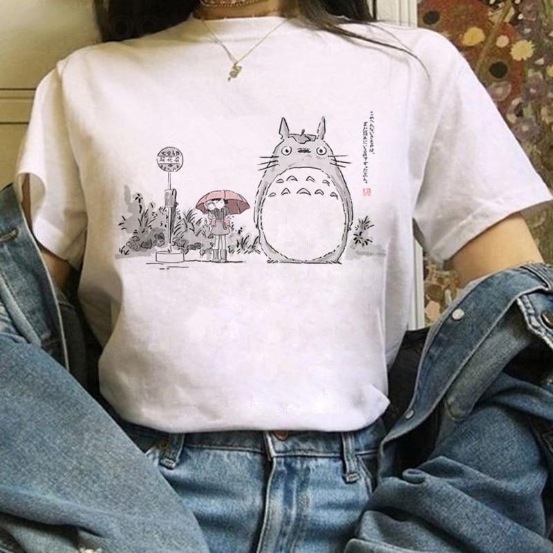 Женская футболка в стиле Харадзюку с героями мультфильма «фотостудия гхибли» «Тоторо» Ullzang Miyazaki Hayao
