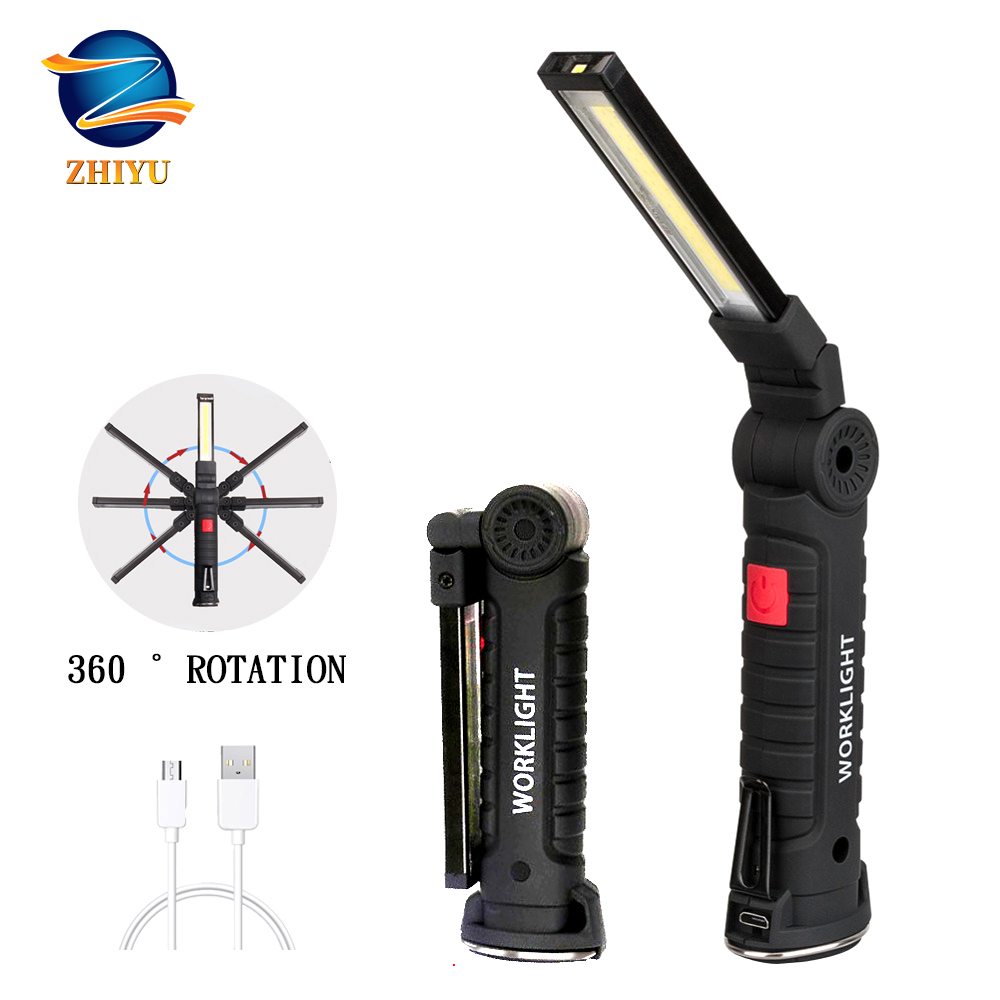 ZHIYU Led Work Light Flashlight With Magnet COB+LED Rechargeable Led Torch Built-in Battery For Outdoor Camping Maintenance